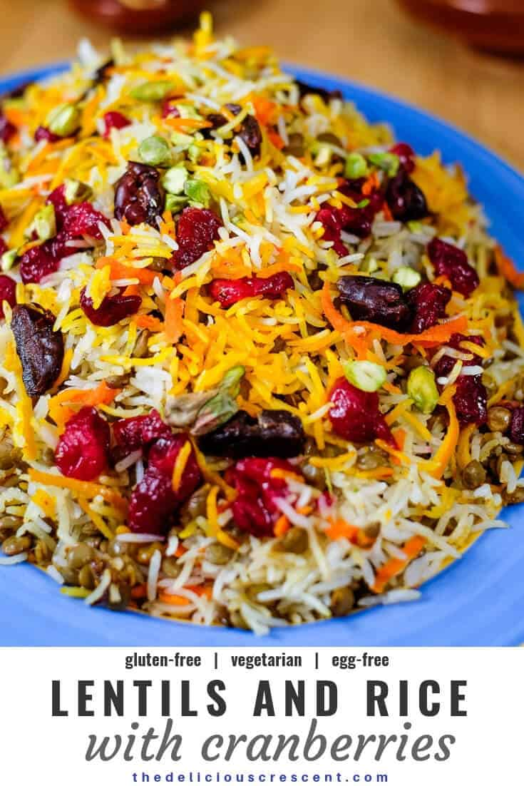 Lentils and rice with cranberries is a Persian style, healthy and easy aromatic dish that is a bit tangy, subtly sweet and savory. It is packed with plant protein, fiber, antioxidants and healthy fats. This is a great vegetarian, gluten-free, egg-free recipe for the fall and holiday season. Vegan option too. #cranberry #holidayrecipe