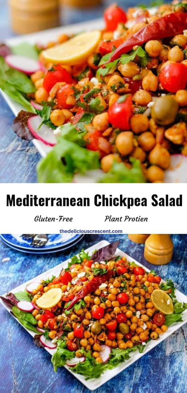 Mediterranean chickpea salad is packed with super delicious flavors and textures. It is an easy, meatless salad that is filling, healthy and packed with plant protein and fiber. Make this recipe vegan by skipping feta cheese. This simple gluten free salad with the spicy dressing will make a great meal. #chickpeasalad #Mediterraneanfood #middleeasternfood
