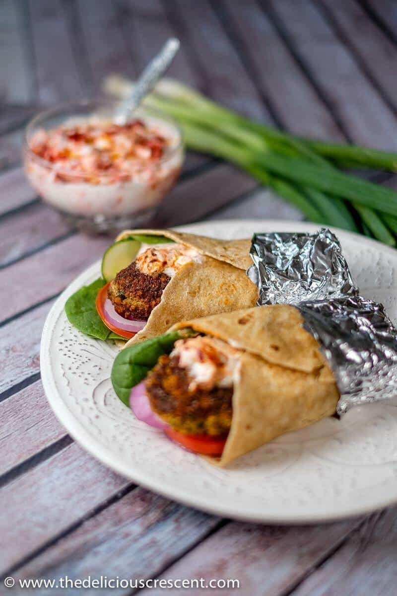 Spicy fish cake wraps served on a plate