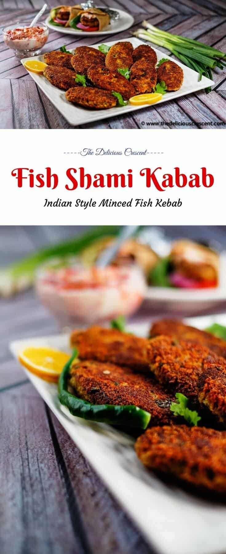Collage of pictures of fish shami kabab