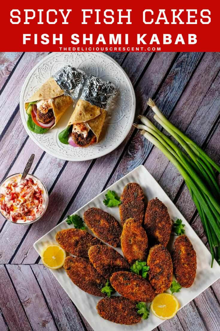Indian fish cakes (fish shami kabab) crispy outside, soft in the center, these richly flavored spicy patties are a terrific appetizer. Easy, healthier, low carb and made with salmon. Freezes beautifully! Gluten free option. #salmon #appetizer #lowcarb #easyrecipe #freezercooking #fish #snacks