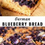 Different views of German blueberry bread sliced and placed on a wooden board.