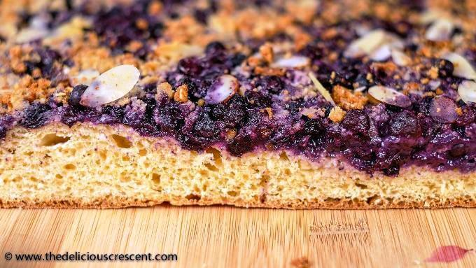 Close up view of German blueberry bread.