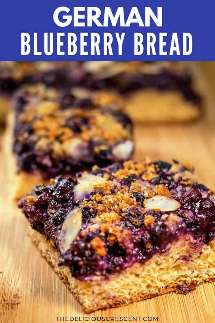 German Blueberry bread is the best breakfast bread ever. Sweet and juicy blueberries with a streusel topping and toasted almonds on a soft cake like bread. Recipe in two ways - healthier and classic. Healthier version with less added sugar, less saturated fat, extra fiber and more goodness. | Blueberry Bread Healthy | Blueberry Bread with Crumb Topping | Blueberry Kuchen | #healthybreakfast #blueberries #bread #brunch #German #baking #dessert #freezerfriendly