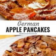 Different views of German apple pancake served on a white plate.