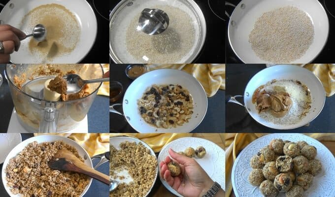 Step by step preparation of amaranth energy balls with dates