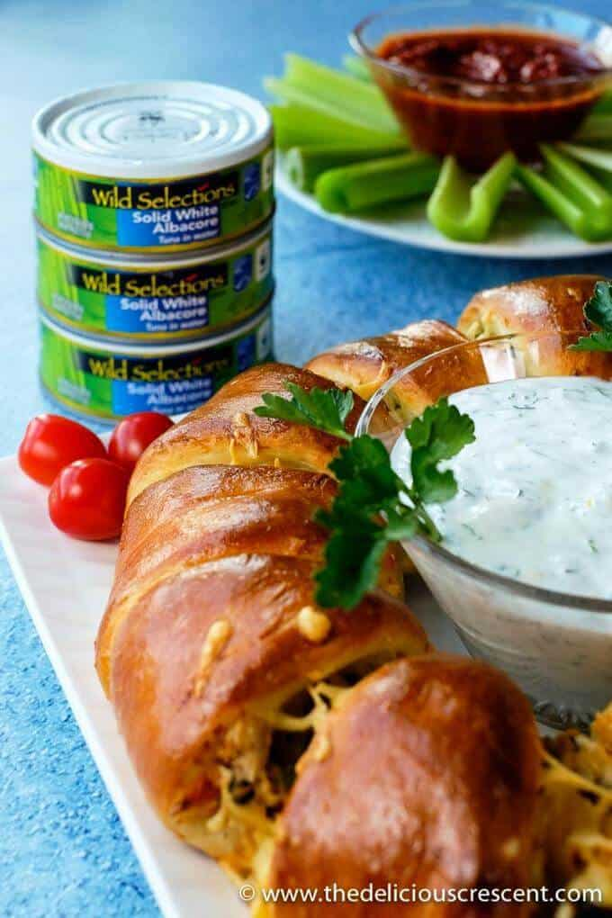 Mediterranean tuna melt crescent ring with a lemon dill sauce