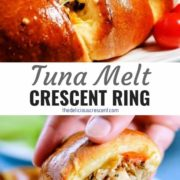 Different views of tuna melt crescent ring with a creamy lemon dill sauce and a harissa sauce.
