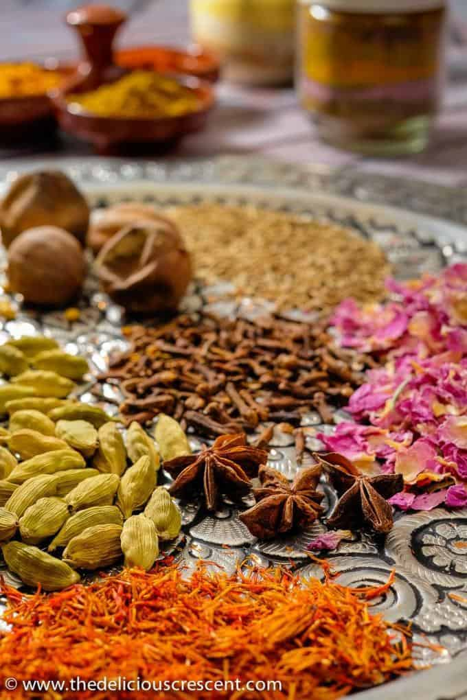 Spices for making advieh, the Persian spice mix