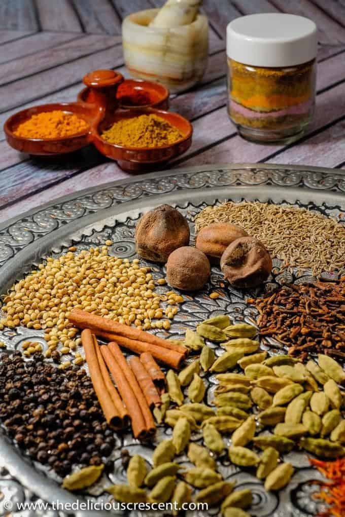 Assortment of spices used for preparation of advieh, the Persian spice blend.