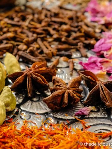 Spices used for making advieh (Persian spice mix).