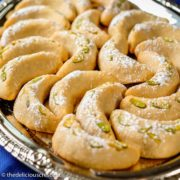 German vanilla crescent cookies also known as vanillekipferl, served on a plate.