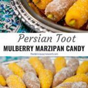 Different views of mulberry shaped marzipan candy arranged on a serving plate and placed on the table.