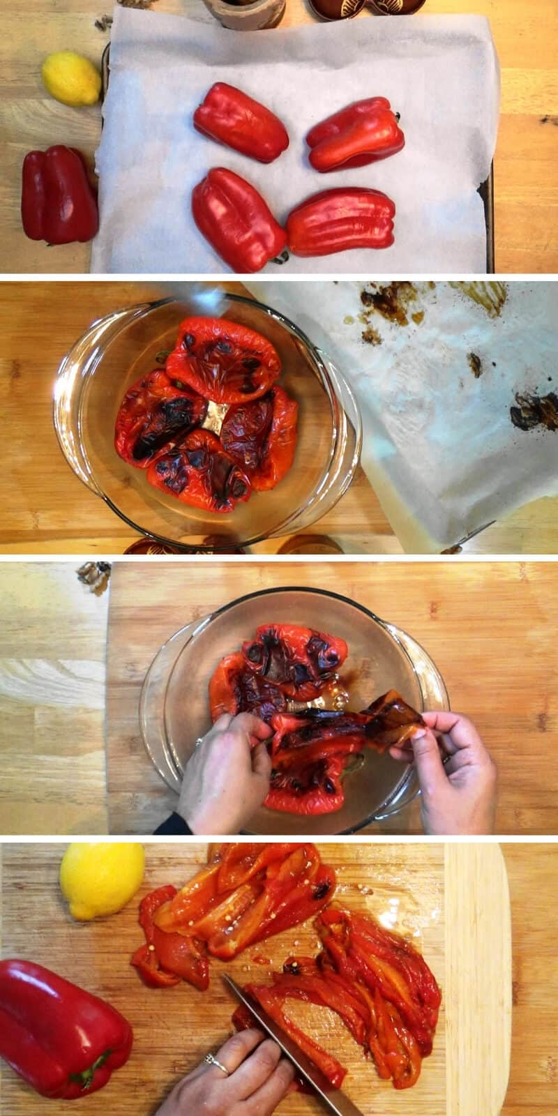 Red bell peppers are roasted and prepared to make muhammara.