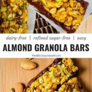 Different views of almond granola bars on a plate.