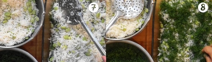 Making alternate thin layers of basmati rice with lima beans and dill weed for baghali polo.