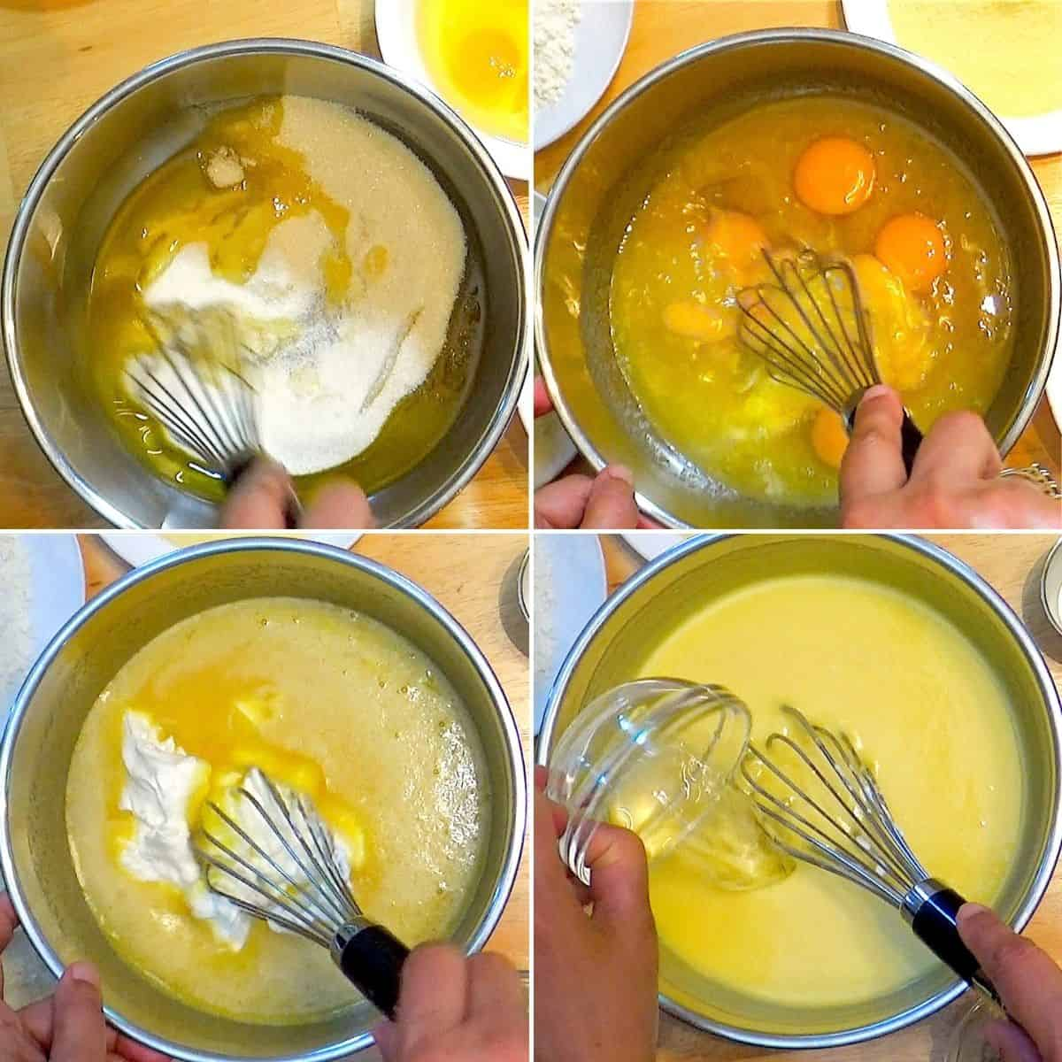 Creaming ghee, sugar and adding eggs, yogurt.