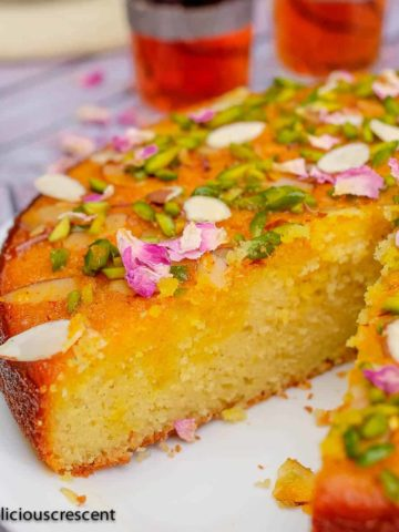 Persian love cake served with tea.