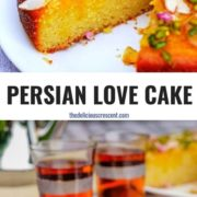 Different views of Persian love cake served with two cups of black tea.