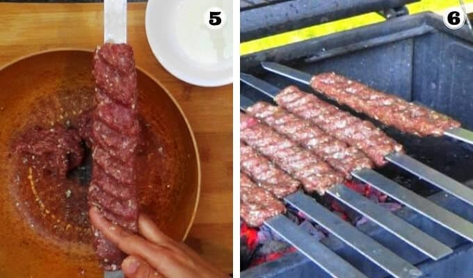 Marking indentations on the koobideh kabob skewer and placing them on the grill.