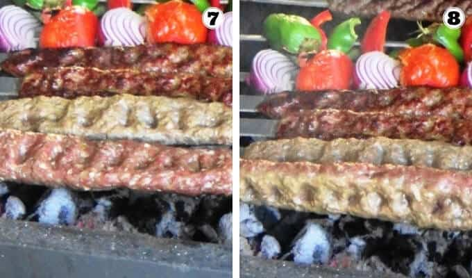 Grilling the kabab koobideh. Some kabobs that are fully grilled and others that are ready for the first flip.