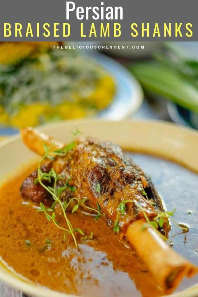 Braised lamb shanks slow cooked in a fantastic sauce with Persian spices, saffron, lemon juice and herbs makes a spectacular feast. Succulent lamb in an amazingly delicious sauce!! Let me show you how to cook lamb shanks in cast iron skillet or dutch oven with this easy middle eastern recipe. It can also be cooked in oven or crockpot. #thedeliciouscrescent #lambshanks #Persianfood #lowcarb #glutenfree #freezermeal #entree