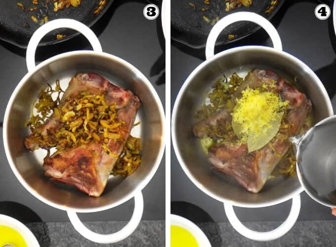 Transferring of braised lamb shanks with onion spice mixture and addition of herbs and water to cook.