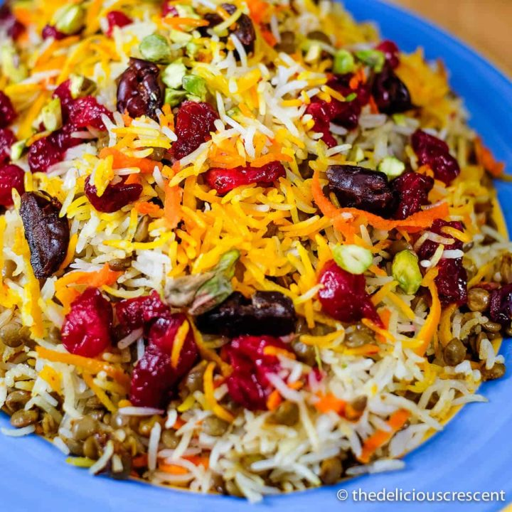 Lentils and rice with cranberries served on a plate.
