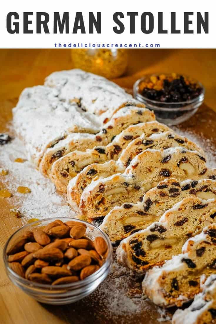 With this classic stollen recipe you can make your own amazingly delicious homemade version of the world famous fruit cake loaded with dried fruit, almonds, spices and a swirl of marzipan. This traditional fruit bread from Germany will absolutely impress your family and friends. Great idea for holiday baking and gifts. It is more easy than you would expect! #stollen #holidaybaking #fruitcake