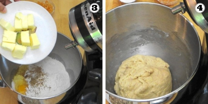 Dough preparation for making stollen.