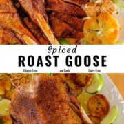 Different views of roast goose placed on a white serving platter with potatoes.