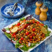 Mediterranean chickpea salad served on a plate.