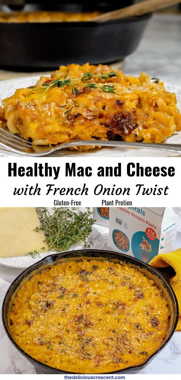 This healthy mac and cheese, is made with protein rich lentil pasta and tastes so rich, creamy and cheesy. An ultimate comfort food that will please both kids and adults. You will not even know how cleverly this gluten-free homemade recipe sneaks in vegetables (butternut squash and caramelized onions), while elevating the flavor and nutrition benefits! Makes a great healthy dinner for weeknights. #macandcheese #butternutsquashrecipes #healthyrecipes