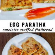 Different views of Indian egg paratha (omelette stuffed flatbread) cut into pieces and served on a white plate.