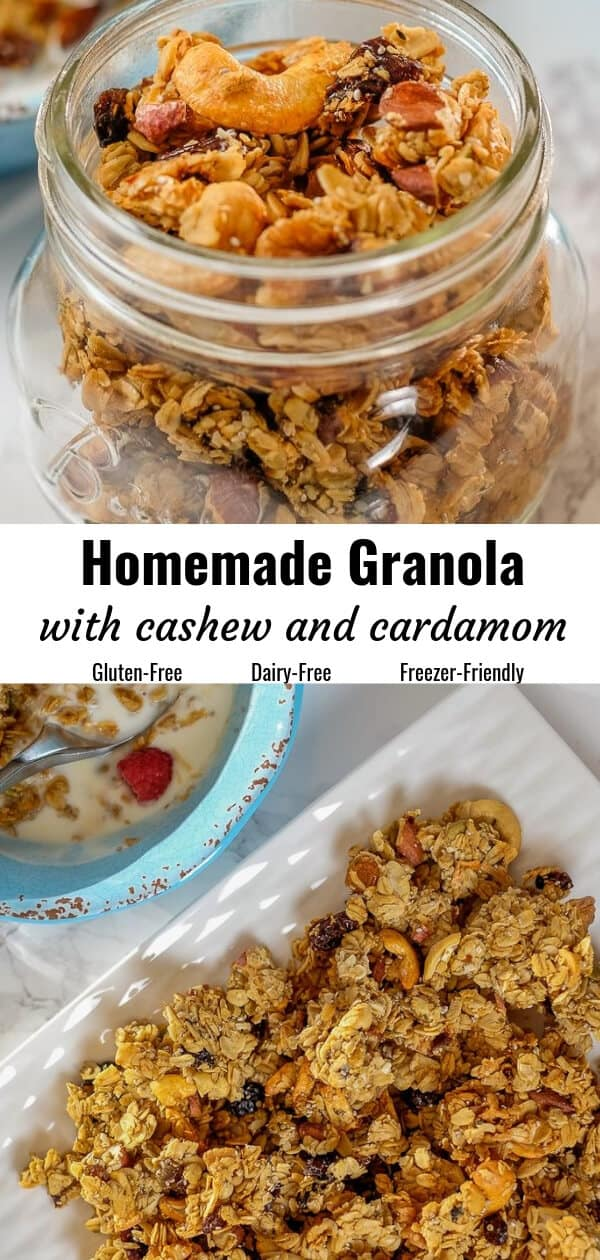 Different views of homemade granola served in a bottle and in a plate.