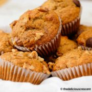 Oatmeal banana muffins placed in a basket.