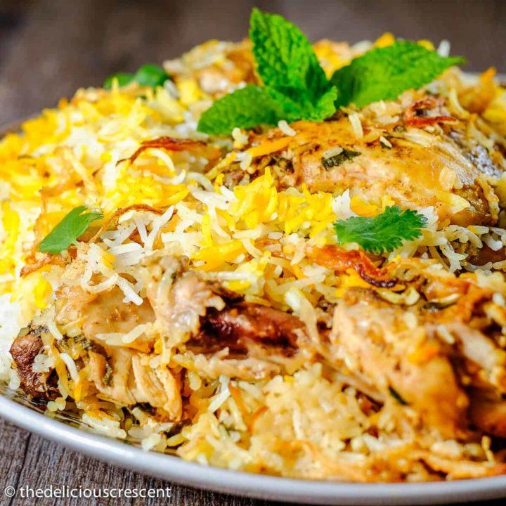 Chicken biryani served in a plate.