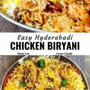 Chicken Biryani pin image with different views.