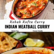 Different views of Indian meatball curry (kofta curry) served in a red cast iron dish along with flat bread, onion and lemon slices.