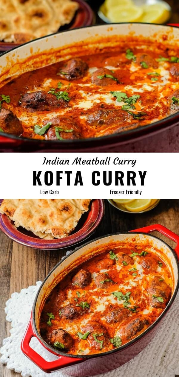 Meatball curry (kofta curry) served in a red cast iron dish along with flat bread, onion and lemon slices.