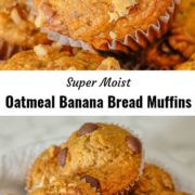 Different views of a stack of banana bread muffins.