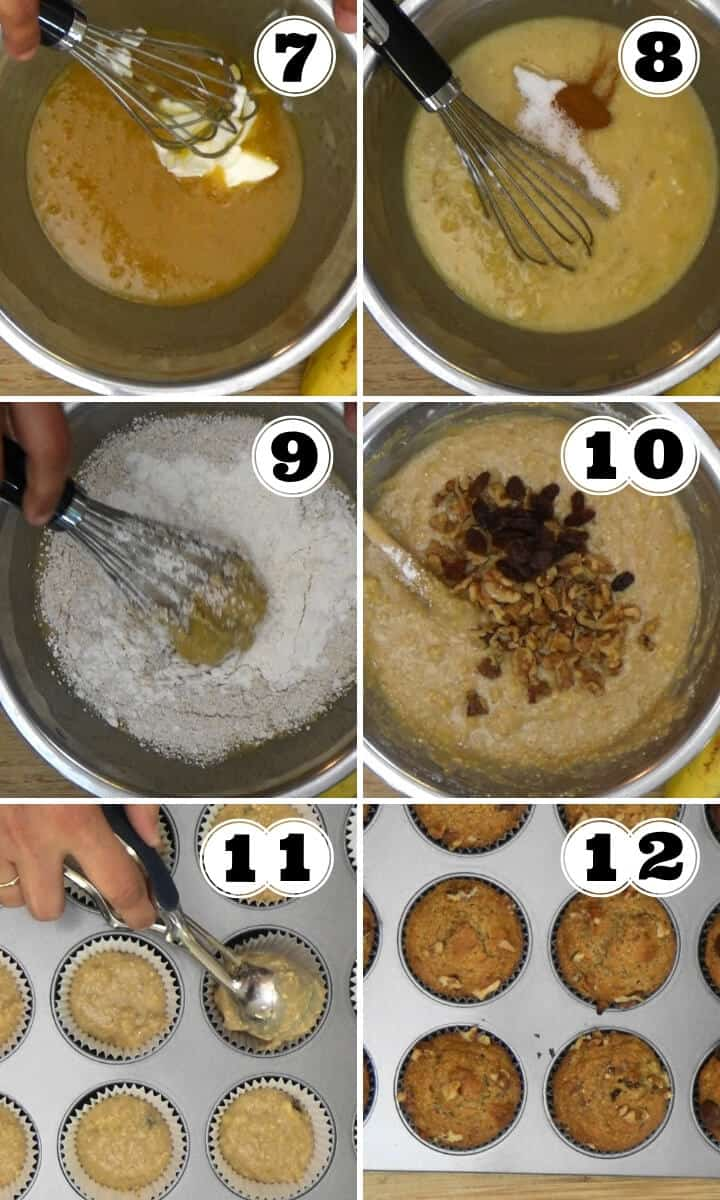 The step by step preparation of oatmeal banana nut muffins.