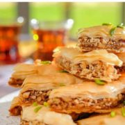 Delicious baklava pastry full of almonds and walnuts.