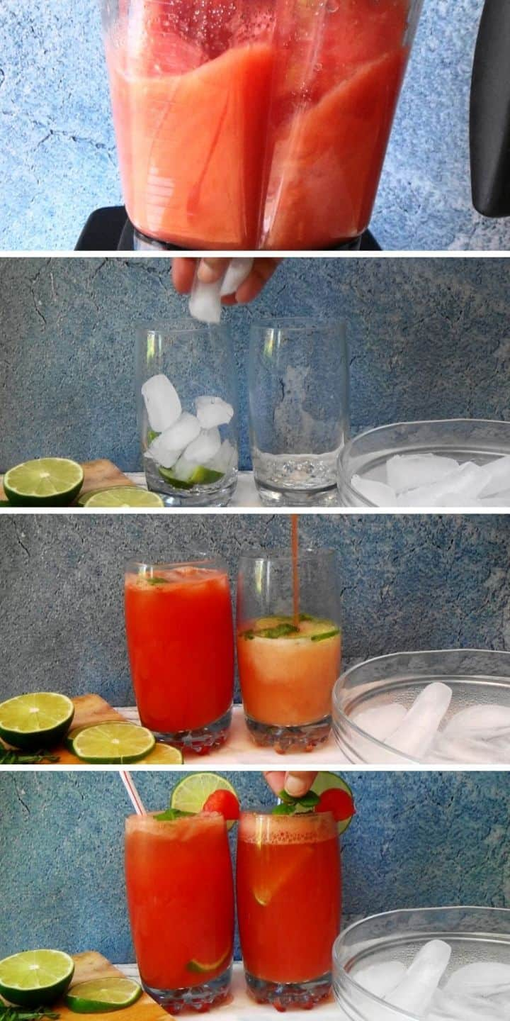 The process of making and serving melon juice step by step.