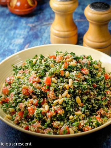 Tabbouleh salad served in a bowl.