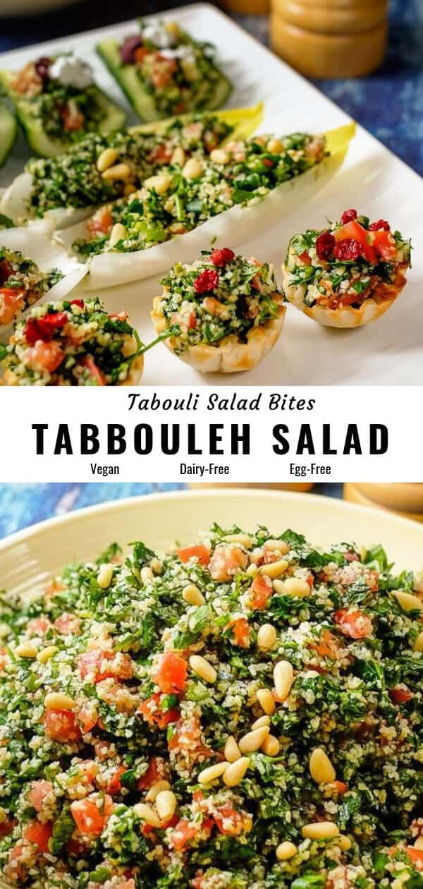 Tabbouleh salad served as bite sized appetizers using cucumber, endive lettuce, filo cups.