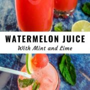 Different views of watermelon juice with ice and lime scattered around.