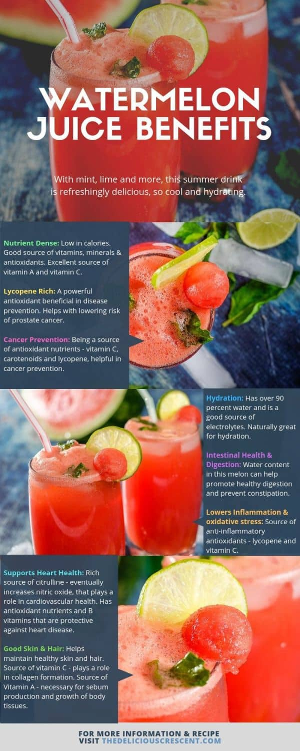 Health benefits of watermelon explained with different views of its juice.