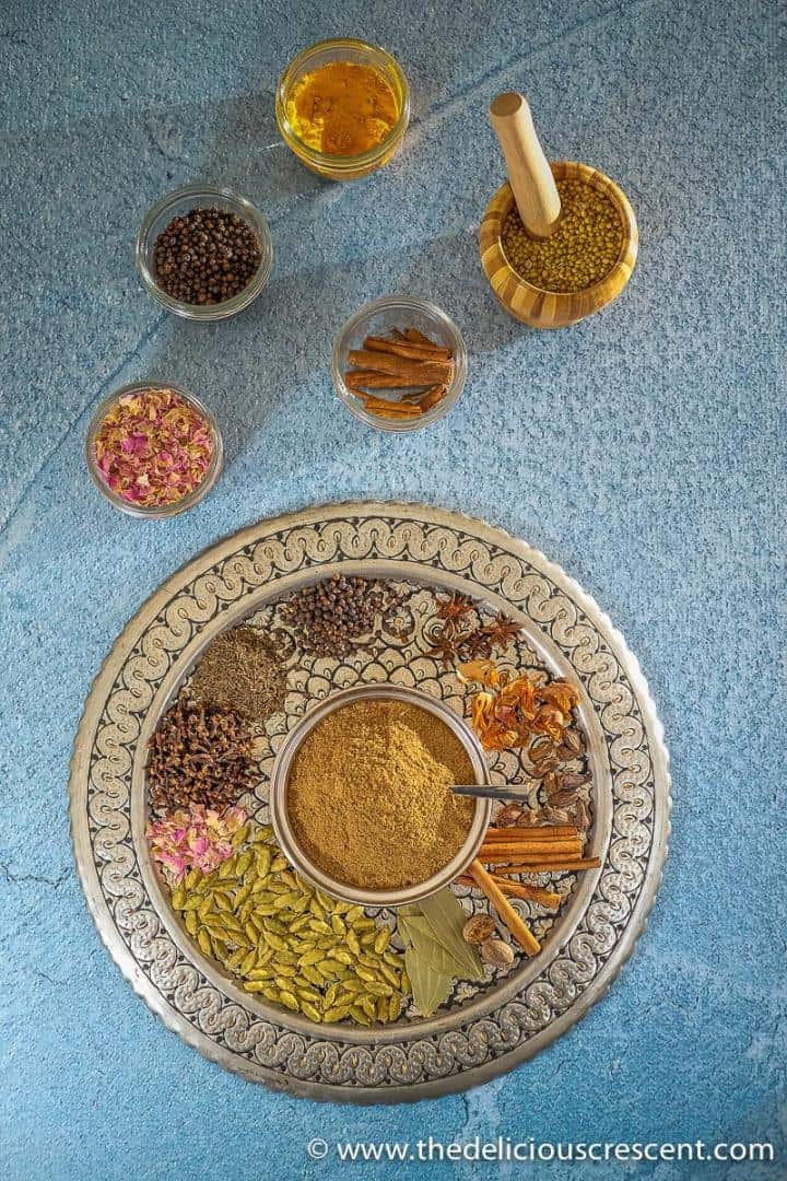 Overhead view of Indian spices and a blend.
