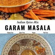 Different views of garam masala in a bowl with whole spices around it.